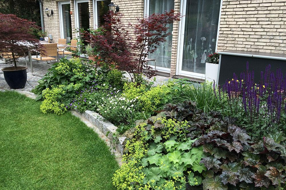 Bepflanzung an einer Terrasse mit Einfassung aus Natursteinquadern