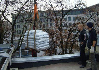 kleine Dachbegrünung mit Pflanzung von Flachballenstauden