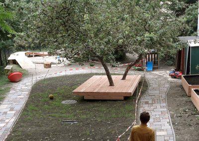 Erneuerung einer alten Kindergartenspielfläche im zweiten Hinterhof in Berlin-Moabit