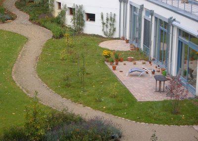 Landschaftsgarten eines Mehrfamilienhauses einer Baugruppe